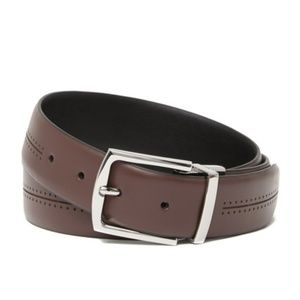 COLE HAAN Java Leather Feather Edge Belt